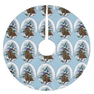 分野スパニエル犬のクリスマス ブラッシュドポリエステルツリースカート