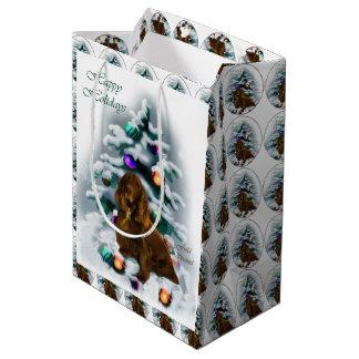 分野スパニエル犬のクリスマス ミディアムペーパーバッグ