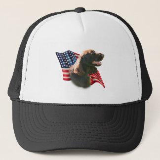 分野スパニエル犬の旗 キャップ