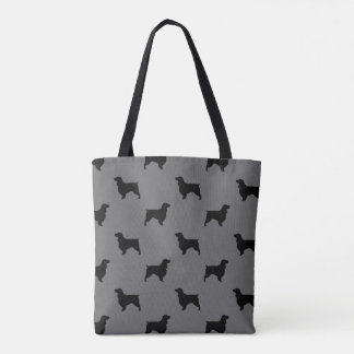 分野スパニエル犬はパターン灰色のシルエットを描きます トートバッグ