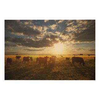 分野、日没の牛 ウッドウォールアート