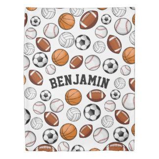 分類されたスポーツのオールスター名前をカスタムするの白 掛け布団カバー