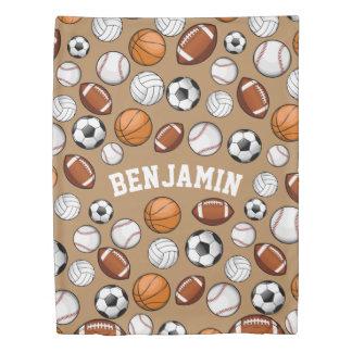 分類されたスポーツのオールスター名前をカスタムするタン 掛け布団カバー