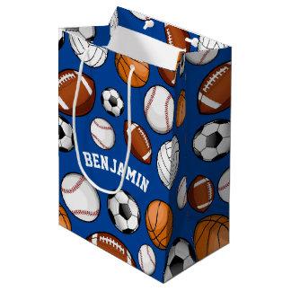 分類されたスポーツオールスターのカスタムな文字の青 ミディアムペーパーバッグ