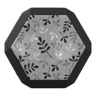 分類された葉のモノクロデザイン ブラックBluetoothスピーカー