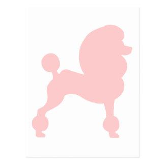 切られた標準プードル(淡いピンクで) ポストカード