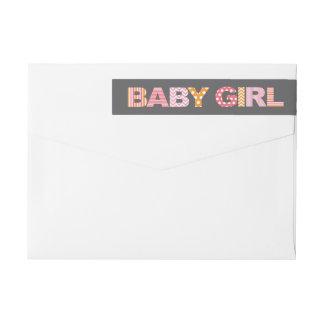 切り出しの手紙の女の赤ちゃんのシャワーのラップアラウンドのラベル ラップアラウンド返信用宛名ラベル