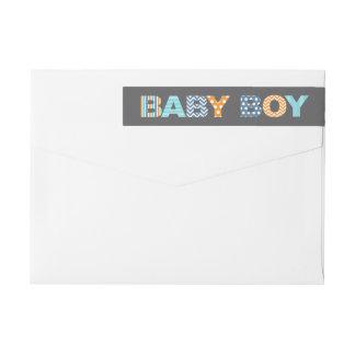 切り出しの手紙の男の赤ちゃんのシャワーのラップアラウンドのラベル ラップアラウンド返信用宛名ラベル