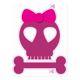 切り出し! ピンクのスカルの女の子 ポストカード