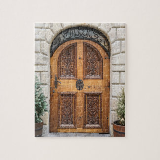 切り分けられた木のドアのパズル ジグソーパズル