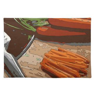 切り刻まれる風味がよいにんじん、タマネギおよびセロリ ランチョンマット