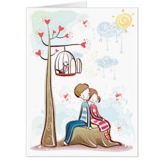 切り株のバレンタインデーカードのカップル カード
