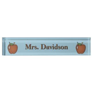 切り貼り芸術のりんごの先生のカスタムな机用ネームプレート デスクネームプレート
