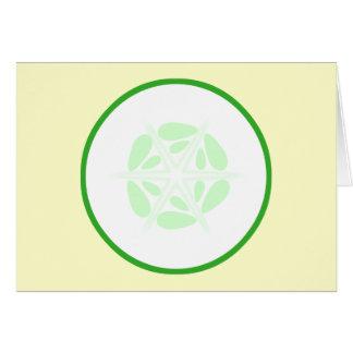 切れのきゅうり。 緑および白 カード