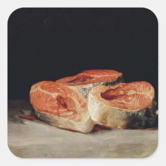 切れのサケ1808-12年が付いている静物画 スクエアシール