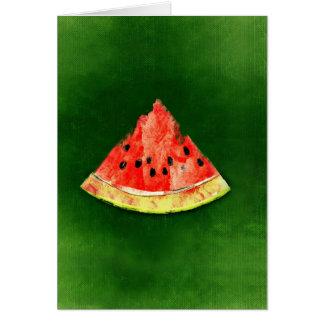 切れの緑の背景のスイカ カード