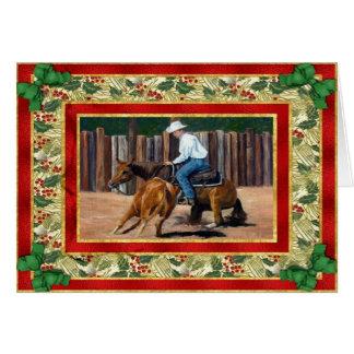 切断のクォーター馬のブランクのクリスマスカード カード