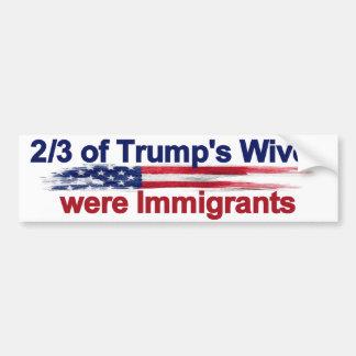 切札の妻の2/3は移民でした バンパーステッカー