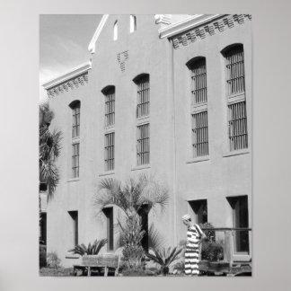 刑務所のセントオーガスティン古いフロリダB&Wの写真 ポスター