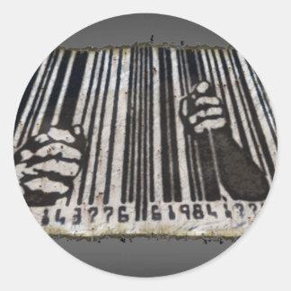 刑務所の刑務所のバーコード ラウンドシール