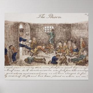 刑務所1858年(着色された版木、銅版、版画) ポスター