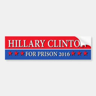 """""""刑務所2016年のためのヒラリー・クリントン"""" バンパーステッカー"""