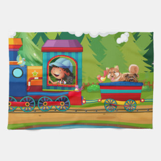 列車および自然 キッチンタオル