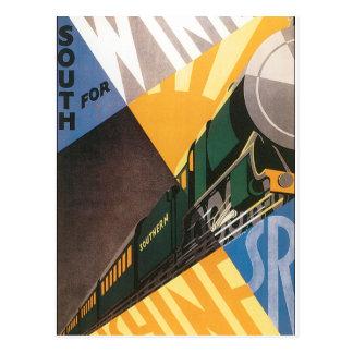 列車のヴィンテージ旅行ポスターグラフィック ポストカード