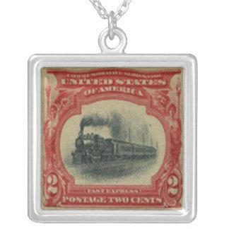 列車の切手のネックレス シルバープレートネックレス