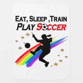 列車の演劇の1日中食べて下さい、サッカー眠らせて下さい ベビー ブランケット