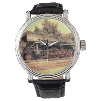 列車の蒸気の鉄道Steampunkエンジンの運命 腕時計