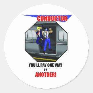 列車の車掌- LIRRの列車-電車 ラウンドシール