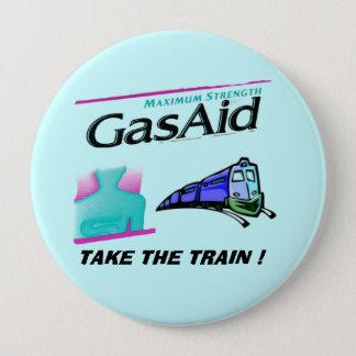 列車を取って下さい! -ガスの苦痛のためのレリーフ、浮き彫り 10.2CM 丸型バッジ