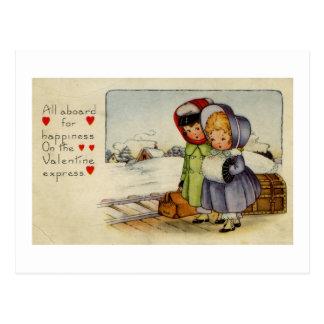 列車を待っているヴィンテージのバレンタインカード2女の子 ポストカード
