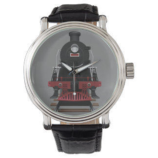 列車エンジンのヴィンテージの鉄道色の顔 腕時計
