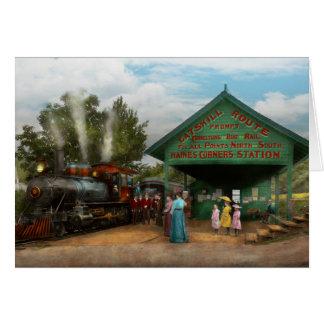 列車- Catskill、NY -待っている出発1902年 カード