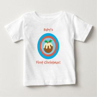 初めてのクリスマスのクリスマスのPudのTシャツ ベビーTシャツ