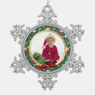初めてのクリスマスのベビーのサンタの写真のオーナメント スノーフレークピューターオーナメント