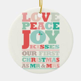 初めてのクリスマス氏及び夫人Holiday Photo Ornament セラミックオーナメント