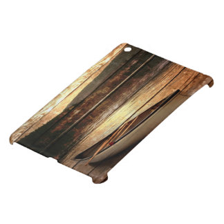 初期のな木製の穀物の反射湖の家のカヌー iPad MINI カバー