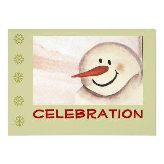 初期のな民芸の雪だるまの休日のパーティ カード