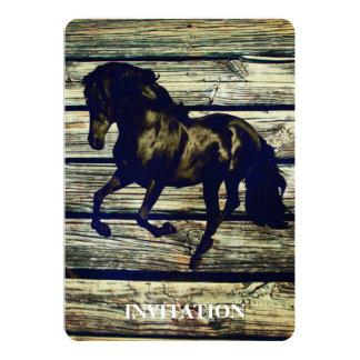 初期のなBarnWoodの乗馬の黒い種馬の馬 カード