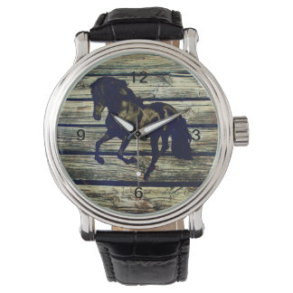 初期のなBarnWoodの乗馬の黒い種馬の馬 腕時計