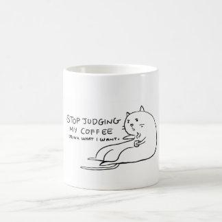 判断されることを断っているコーヒー猫 コーヒーマグカップ