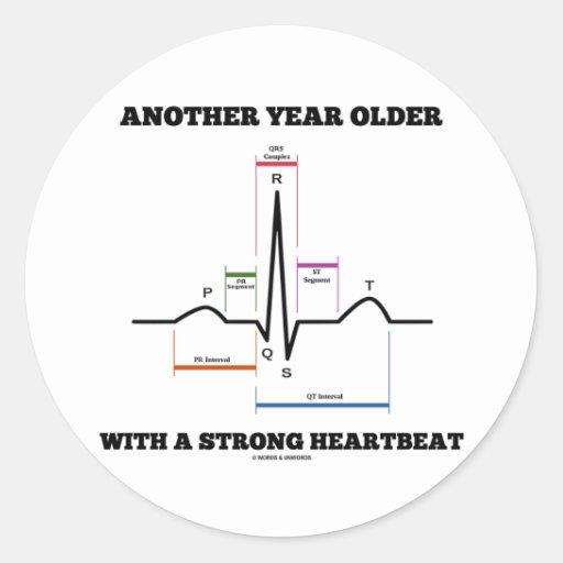 別のもの|年|より古い|強い|心拍|ECG/EKG 丸形シールステッカー