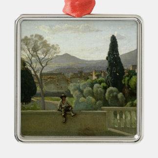 別荘のd'Este、Tivoli 1843年の庭 シルバーカラー正方形オーナメント