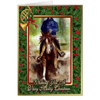 制止のクォーター馬の空白のなクリスマスカード カード