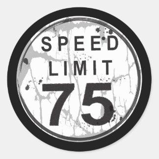 制限速度75 MPHの汚いステッカー ラウンドシール