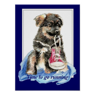 刺激の引用文のかわいい犬を走ることを行く時間 ポスター