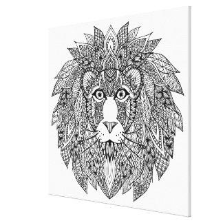 刺激を受けたなライオンの頭部4 キャンバスプリント